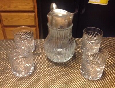 CUT CRYSTAL & SILVER PLATED PITCHER ITALY with 4 lead crystal glasses