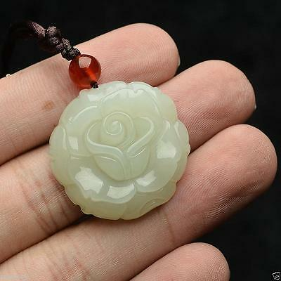 Chinese natural white jade hand-carved Rose flower pendant Exquisite Beautiful