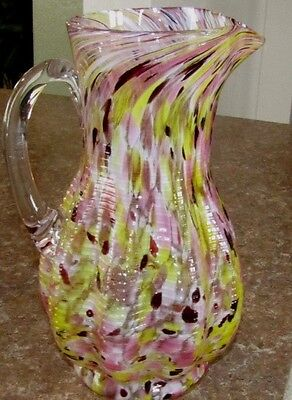 Beautiful Antique Multicolor Pink Yellow White Black Spatter Water Pitcher