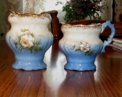 Beautiful Antique 1800s Victorian Blue & Flower Large Creamer Open Sugar C.P.Co.