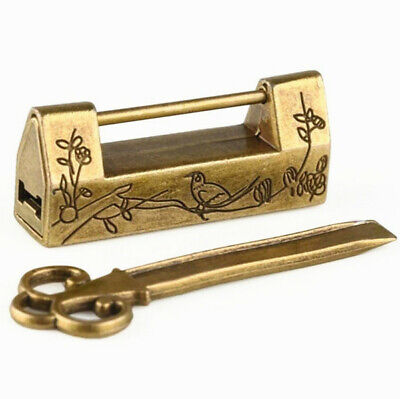 Chinese Vintage Antique Locks Old Style Excellent Brass Carved Word Padlock @