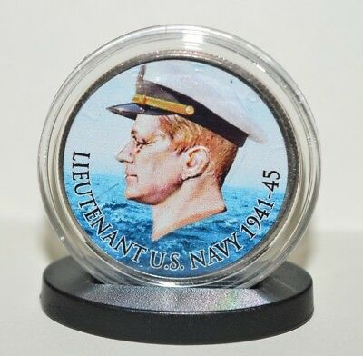 Lieutenant John F Kennedy US Navy Commemorative Coin w/ Stand Up Base