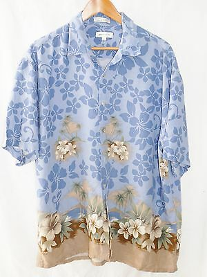 995f12593 Vintage Pierre Cardin Blue Palm Tree Floral Aloha Hawaiian Shirt Men Size  XLarge