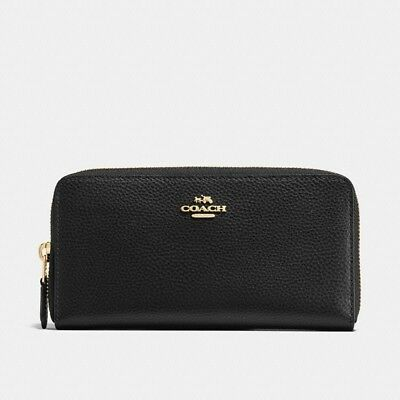 NWT Coach 16612 Accordion Zip Wallet in Pebble Leather, Black $250.00