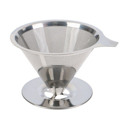 Reusable coffee filter holder stainless steel brew drip coffee funnel metal-mesh