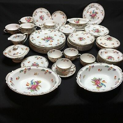 Noritake Dresdoll Hand Painted Japan Plates Cups Bowls Gravy Sugar Lot Of 59 Pcs