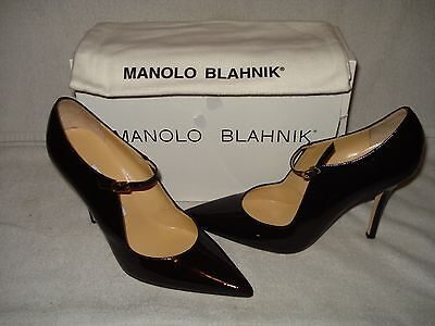 c8b34416838c4 100% Authentic New Women Manolo Blahnik Brown Ctoki Mary Jane Heel Us 9.5
