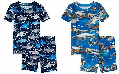 NWT The Childrens Place Sharks Boys Black Short Sleeve Cotton Pajamas Set