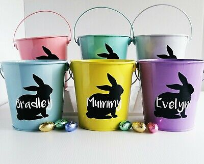 Easter Bucket Personalised DECAL ONLY Vinyl Sticker DIY Easter Bunny 7cm x 8cm