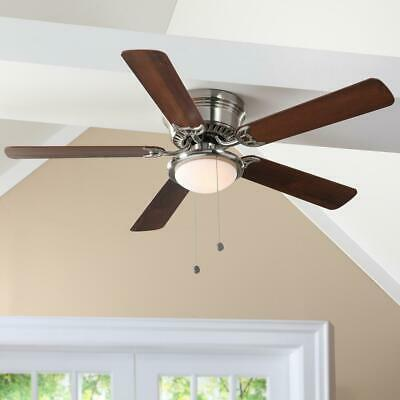 Hugger 52 in.Low  Profile LED Indoor Brushed Nickel Ceiling Fan with Light Kit