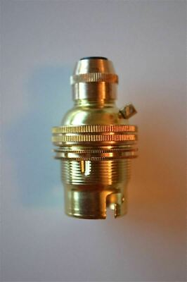 Brass Bayonet Fitting Bulb Holder Cord Grip Lamp Holder Earthed Shade Ring G3