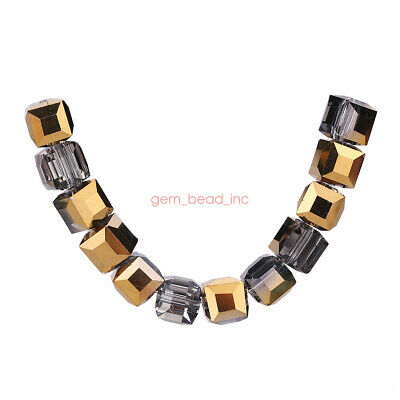 8mm 25pc Cube Square Crystal Glass Faceted Loose Spacer Beads Jewelry Wedding