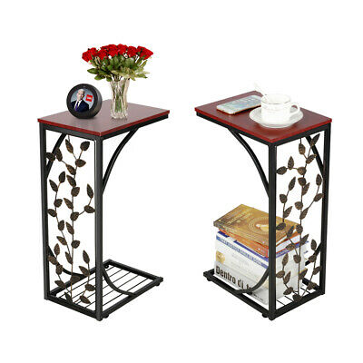 UK 2pcs C Shaped Leaf Pattern Sofa Side End Table,Coffee table for Living Room