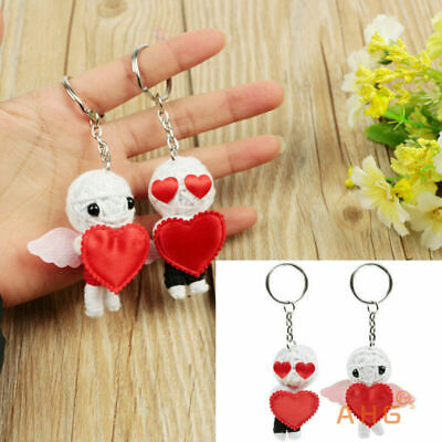 2pc Cute Voodoo Doll Keyring Red Love Heart Couple Key Chain Keyfob Lover Gift
