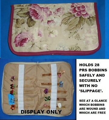 Small Padded Zip Bobbin Bag Holds 28 Prs Bobbins  Safely & Securely Roses Patt