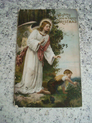 Alte Postkarte Schutzengel Guarian Angel Wishing you a happy Christmas