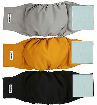 Pack Of 3 Washable Dog Belly Bands For Male Dogs Wrap Diaper Gold Black Grey