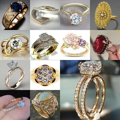 18K Yellow Gold Plated White Topaz Sapphire Ring Women Nice Wedding Party Sz5-10