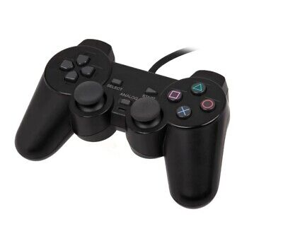 New  Wired Controller Dual Shock Joypad Gamepad for PS2 PlayStation 2  Black