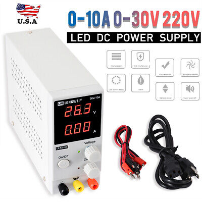 0-10A 0-30V 220V LCD DC Power Supply Adjustable Precision Variable Digital Lab