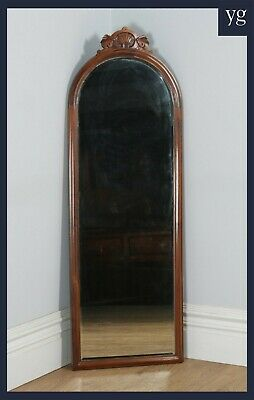Antique English Victorian Mahogany Tall Wall Hanging / Floor Standing Mirror