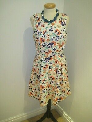 9824f12fca7b KELLY BROOK COLLECTION at NEW LOOK Floral Cotton Retro Tea Dress UK 10 BNWOT