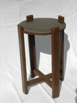 Vintage Arts & Crafts Mission Shabby-Chic Brown Painted Wood Plant Stand/Table