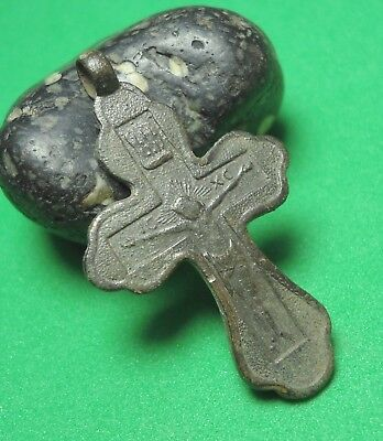 Ancient Bronze Cross Wearable Pendant Antique Rare C103