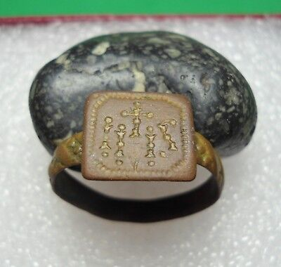Ancient Roman Bronze Ring IHS Society of Jesus Emblem Original Rare R541