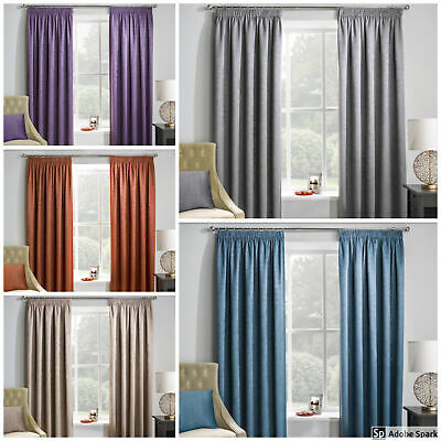 Matrix - READY MADE THERMAL BLACKOUT CURTAINS - Pencil Pleat Tape Top - PAIR