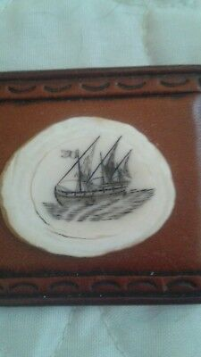 Wonderful Scrimshaw and Leather Brooch