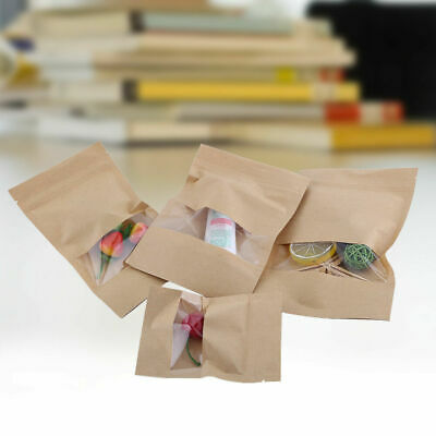 Resealable Food Storage Kraft Paper Bags Stand Up With Window Party Gift Pouches