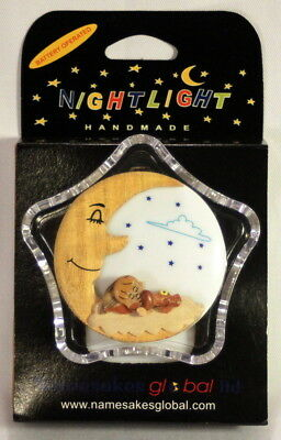 2 Battery Operated Child's LED Night Lights c/w Handcarved Wooden Moon Motif