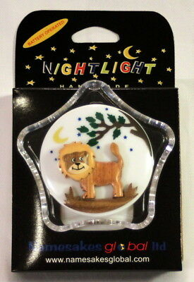 2 Battery Operated Child's LED Night Lights with Handcarved Wooden Lion Motif
