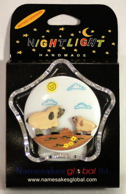 2 Battery Operated Child's LED Night Lights with Handcarved Wooden Sheep Motif