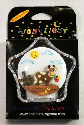 2 Battery Operated Child's LED Night Lights with Handcarved Wooden Cow Motif