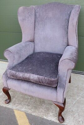 Large Antique Edwardian Wing-Back Armchair Chair