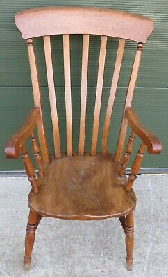 Antique Victorian Beech & Elm Farmhouse Kitchen Carver Armchair Chair