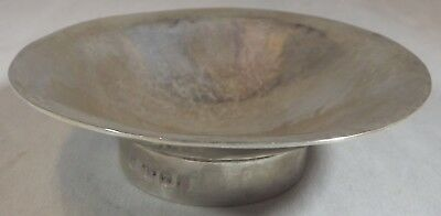 Solid Silver Small Arts & Crafts Hammered Dish - 8.5cm Diam. Maker ET 1996