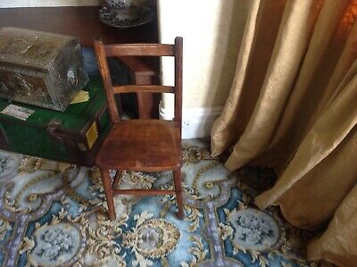 Victorian Antique Child's School Wood Chair Beech Ash 19th Century