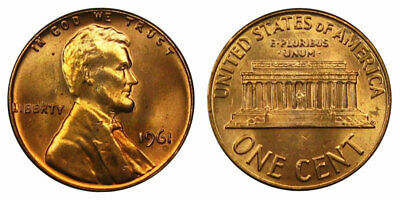1961 Lincoln Memorial Cent Roll BU Penny Pennies 50 Coins