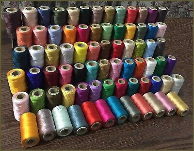 30 x Large Art Silk Rayon 100/% Sewing Silk With Metallic Embroidery Threads UK