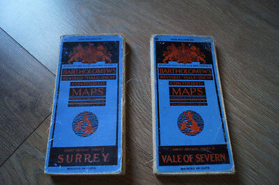 2 Bartholomew's half inch maps linen Surrey and Vale of Severn
