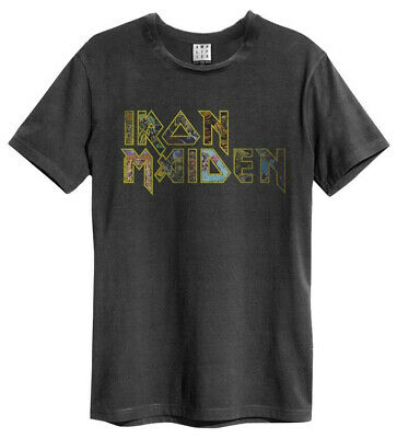 Iron Maiden 'Eddies Logo' (Charcoal) T-Shirt - Amplified Clothing-NEW & OFFICIAL