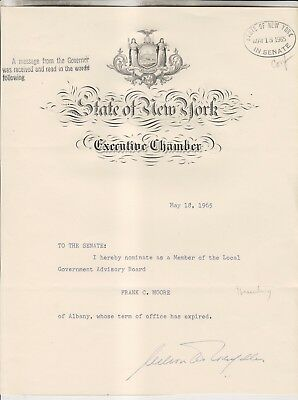 1965 Nelson Rockefeller Signed Document - New York State Executive Chamber