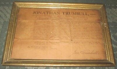 1801 Connecticut Historical Document Jonathan Trumbull Signed Commission Letter
