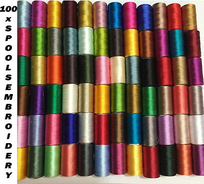 100 Large Art/Silk/ Rayon Embroidery Machine Thread Spools for Brother, Janome