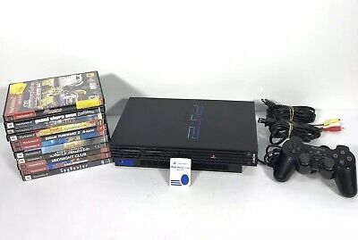Sony PlayStation 2 PS2 Black Fat Original Console system+ 11 games 1 Controller