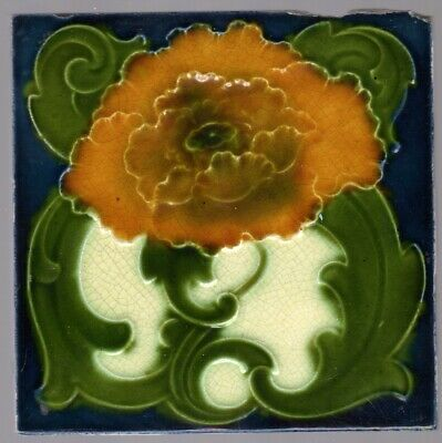 T & R Boote - c1895 - Orange-Amber Floral - Antique Majolica Tile