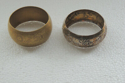 2 Antique Authentic Hand Made Silver plated, Brass Woman Bangle Bracelet.2 3/4 D